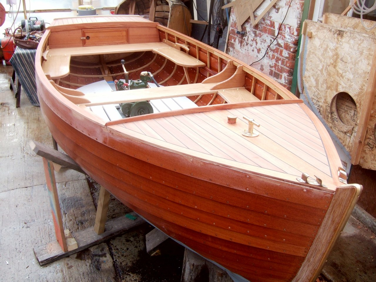 Clinker built 12ft 6in small motor launch by traditional for Small motor boat for sale