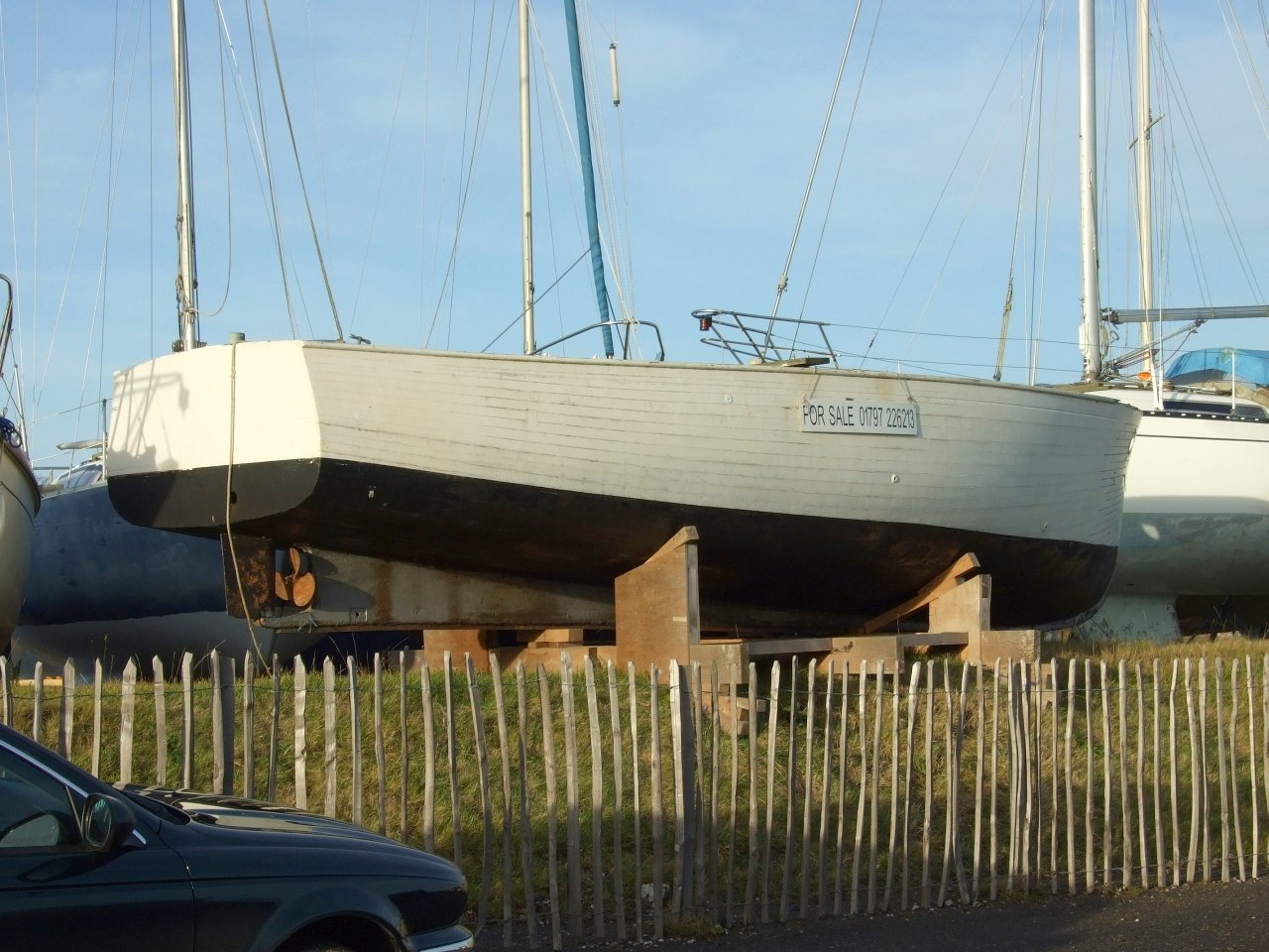 Wooden motor boat hull for sale at Rye | intheboatshed.net