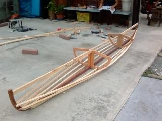 Sean Hartman's lashed skin on frame canoe | intheboatshed.