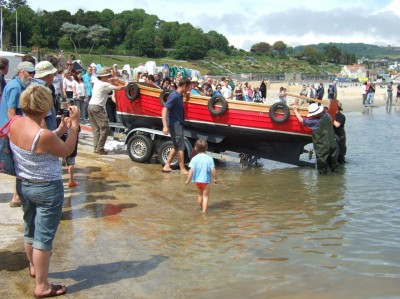 Youngest student on the course Alasdair Grant (18 years) launching his Beer Beach Boat