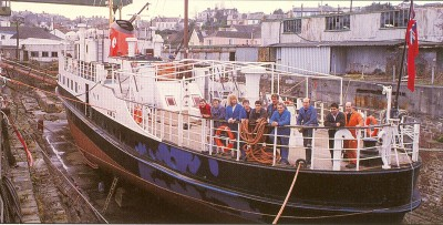 Lundy ferry Oldenburg in Appledore dry dock 1993