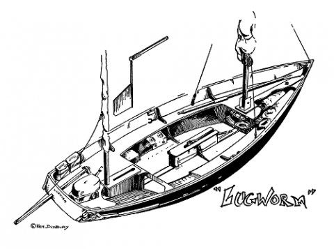 Ken Duxbury's Lugworm Drascombe Lugger adventures in print again | intheboatshed.net