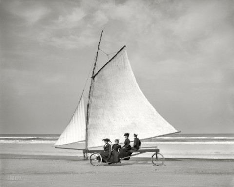 Land sailing Ormond Florida circa 1900 from Shorpy