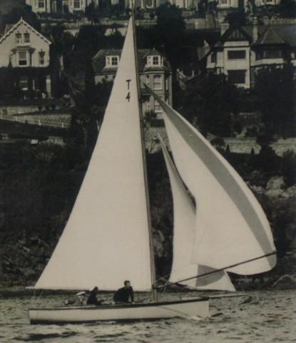 Lt Gen Sir F.A M Browning winning Fowey Yacht Club Regatta in Shimmer, 1930