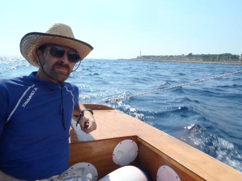 Ben Crawshaw sailing Ella skiff