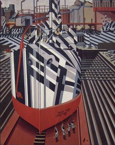 Dazzle-ships-in-Drydock-at-Liverpool-Edward-Wadsworth-1919