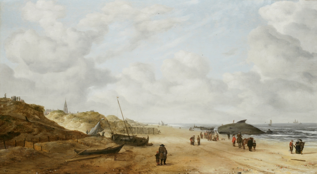 Fully restored web size - Hendrick van Anthonissen (1606-after 1660), View of Scheveningen sands, with a stranded sperm whale, c. 1641, oil on panel © Fitzwilliam Museum, Cambridge