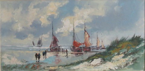 Scheveningen beach with fishing boats