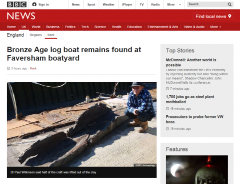 Bronze age boat at Hollowshore